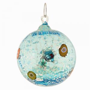 Palla di natale vetro Murano turchese tutto argento e murrine colorate