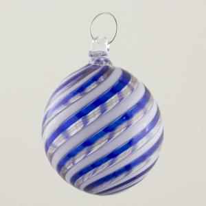 Palla Natale vetro Murano soffiato filigrana multicolore e avventurina colore blu e bianco