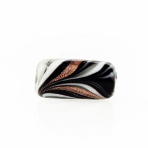 Perla di Murano cilindro Fenicio Ø9x18. Vetro bianco, nero e avventurina. Foro passante.