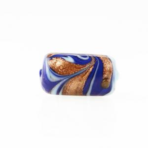 Perla di Murano cilindro Fenicio Ø9x18. Vetro blu lapis, azzurro e avventurina. Foro passante.