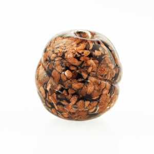 Perla di Murano melone Sommerso Ø18. Vetro nero, con avventurina. Foro passante.
