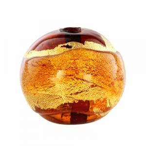 Perla di Murano tonda Sommersa Ø14. Vetro ambra, topazio, foglia oro. Foro passante.