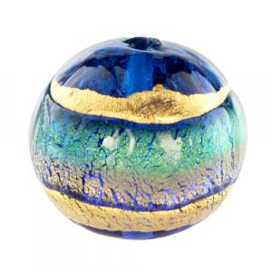 Perla di Murano tonda Sommersa Ø16. Vetro acquamare, bluino, foglia oro. Foro passante.