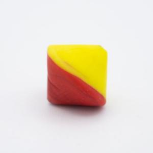 Perla Murano bicono satinato Ø18 mm h17 bicolore giallo/rosso pasta di vetro