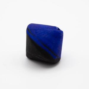 Perla Murano bicono satinato Ø18 mm h17 bicolore nero/blu pasta di vetro