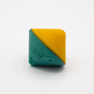 Perla Murano bicono satinato Ø18 mm h17 bicolore senape/verde pasta di vetro