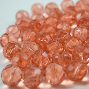 Perla sfaccettata 10 mm mezzo cristallo rosa antico