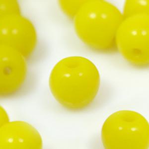 Perla tonda in pasta di vetro gialla, 7 mm