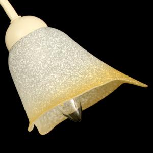 Tazza calla paralume ricambio lampadario vetro bianco effetto scavo sfumato ambra. Foro Ø30 mm