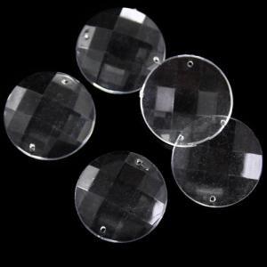 Tondo 27 mm, cristallo acrilico sfaccettato 2 fori fondo piatto, colore puro trasparente