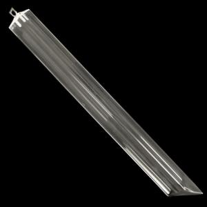 Triedro pendente L 33 cm in vetro di Murano cristallo trasparente con taglio punta a 45°