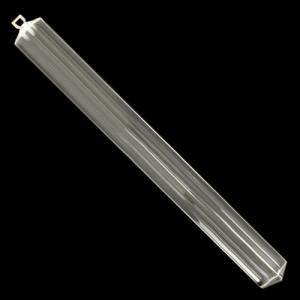 Triedro pendente L 38 cm in vetro di Murano cristallo trasparente con taglio a 90°