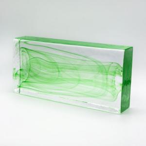 Blocco mattone anima verde in vetro di Murano cristallo trasparente