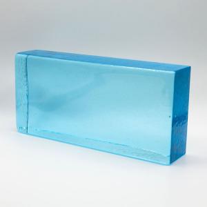 Blocco mattone in vetro di Murano bluino trasparente