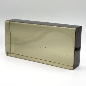 Blocco mattone in vetro di Murano grigio trasparente