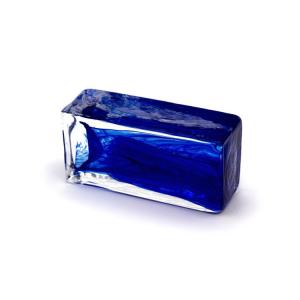 Blocco mini mattone anima blu in cristallo trasparente vetro Murano