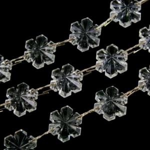 Catena fiocchi di neve 16 mm in vetro veneziano cristallo, lunga 50 cm, clip nickel