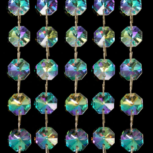 Catena ottagoni 14 mm in cristallo aurora boreale, lunghezza 50 cm. Clip nickel.