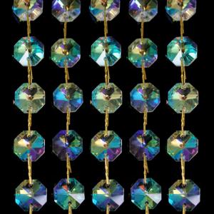 Catena ottagoni 14 mm in cristallo aurora boreale, lunghezza 50 cm. Clip ottone.