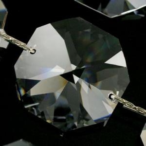 Catena ottagoni 30 mm cristalli Asfour lunga 50 cm, clip nickel