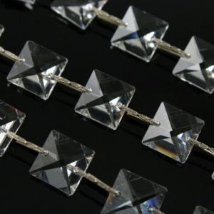Catena quadrucci 14 mm cristallo Asfour, lunga 50 cm, clip nickel