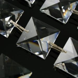 Catena quadrucci 22 mm cristallo Asfour, lunga 50 cm, clip nickel