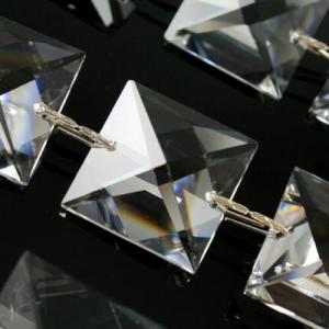 Catena quadrucci 24 mm cristallo Asfour, lunga 50 cm, clip nickel
