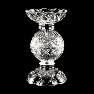 Centrotavola Ø10 x H18 portafiori candelabro in vetro cristallo veneziano con finiture cromo.
