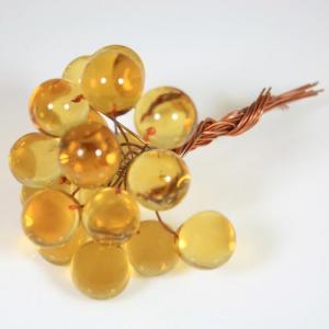 Chicco Ø16 mm con filo di rame, vetro di Murano color ambra chiaro in fogo
