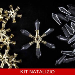 Confezione risparmio: 20 pz stella oro + 120 prismi 38 mm cristallo per addobbi natalizi