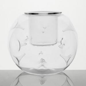 Contenitore in vetro a sfera Ø12 cm con bicchierino interno in cristallo. Porta tealight, porta essenze, centrotavola