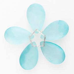 Fiore di cristalli sfaccettati colore verde satinato Ø80 mm con clip argento