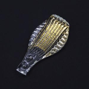 Foglia artigianale per specchio veneziano, vetro di Murano colore oro.
