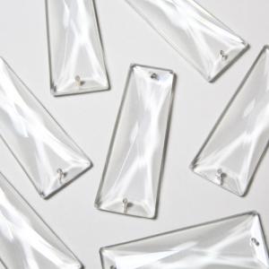 Losanga trapezio cristallo Boemia 65 mm trasparente a doppio foro.