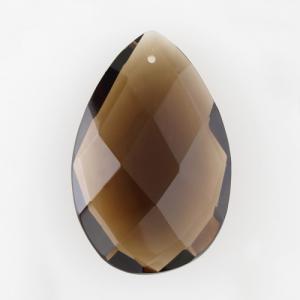 Mandorla goccia h37 mm cristallo Boemia originale marrone fumè. Pendente per restauro lampadari antichi