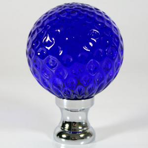 Maniglia pomello sfera blue disegno a baloton Ø65 vetro di Murano rocchetto nikel.