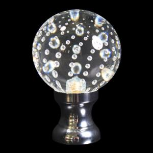 Maniglia pomello sfera cristallo disegno pulegoso Ø50 vetro di Murano rocchetto nikel.