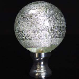 Maniglia pomello sfera cristallo foglia argento Ø65 vetro di Murano rocchetto nikel.