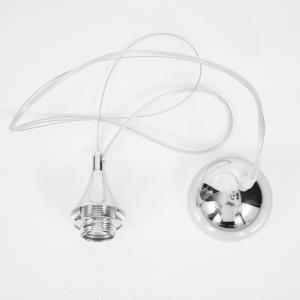 Montatura lampada E27 sospensione cromo lucido rosone filo acciaio e cavo elettrico trasparente.