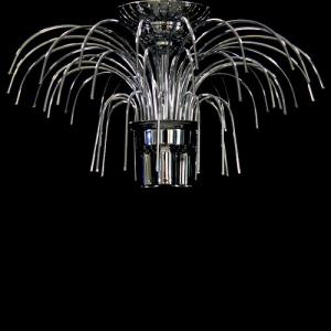Montatura plafoniera a pioggia 3 luci, finitura cromo, diametro 40 cm con 48 zampilli forati e 8 fori nel piatto.