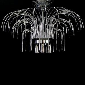 Montatura plafoniera a pioggia 5 luci, finitura cromo, diametro 50 cm con 60 zampilli forati e 12 fori nel piatto.