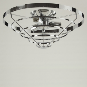 Montatura plafoniera, 3 luci, color nickel, diametro 40 cm