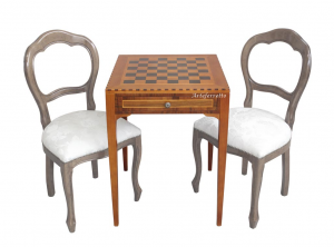 Schachbrett-Tisch H 80 cm