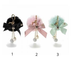 Pompon charm per borsa con pendente perla e strass