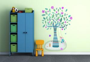 Adesivo murale rimuovibile  Wallskin L'albero blu