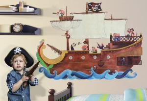Adesivo murale rimuovibile Wallskin Galeone dei pirati