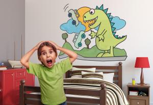 Adesivo murale rimuovibile Wallskin Il dinosauro e le automobili