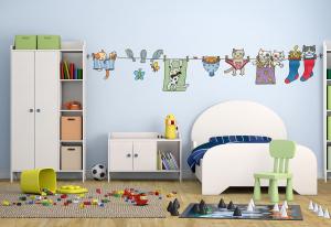Adesivo murale rimuovibile Wallskin I panni e i gatti stesi