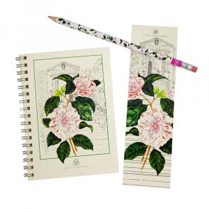 Quaderno, matita e segnalibro