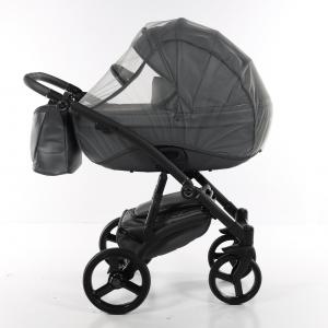 Novità Tako Baby - Laret Premium - telaio nero - ecopelle - Grigio cenere/argento